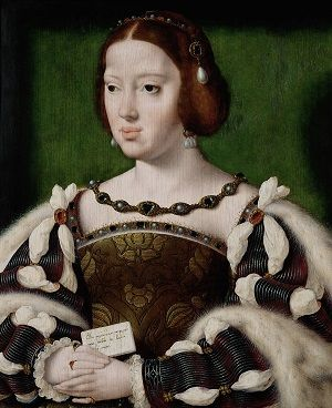Eleanor of Austria wearing a headdress with pearl drops and an embroidered dress with slashed sleeves.