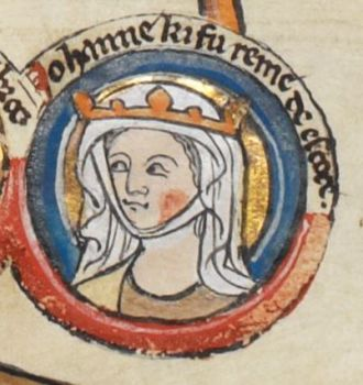 Manuscript illustration of Joan of England, wearing a crown and a white veil.