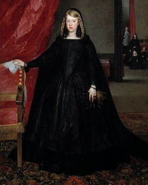 Margaret Theresa of Spain dressed in black with her hair in two braids, a small group is visible through a doorway on the right.