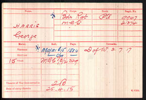 george harris medal card