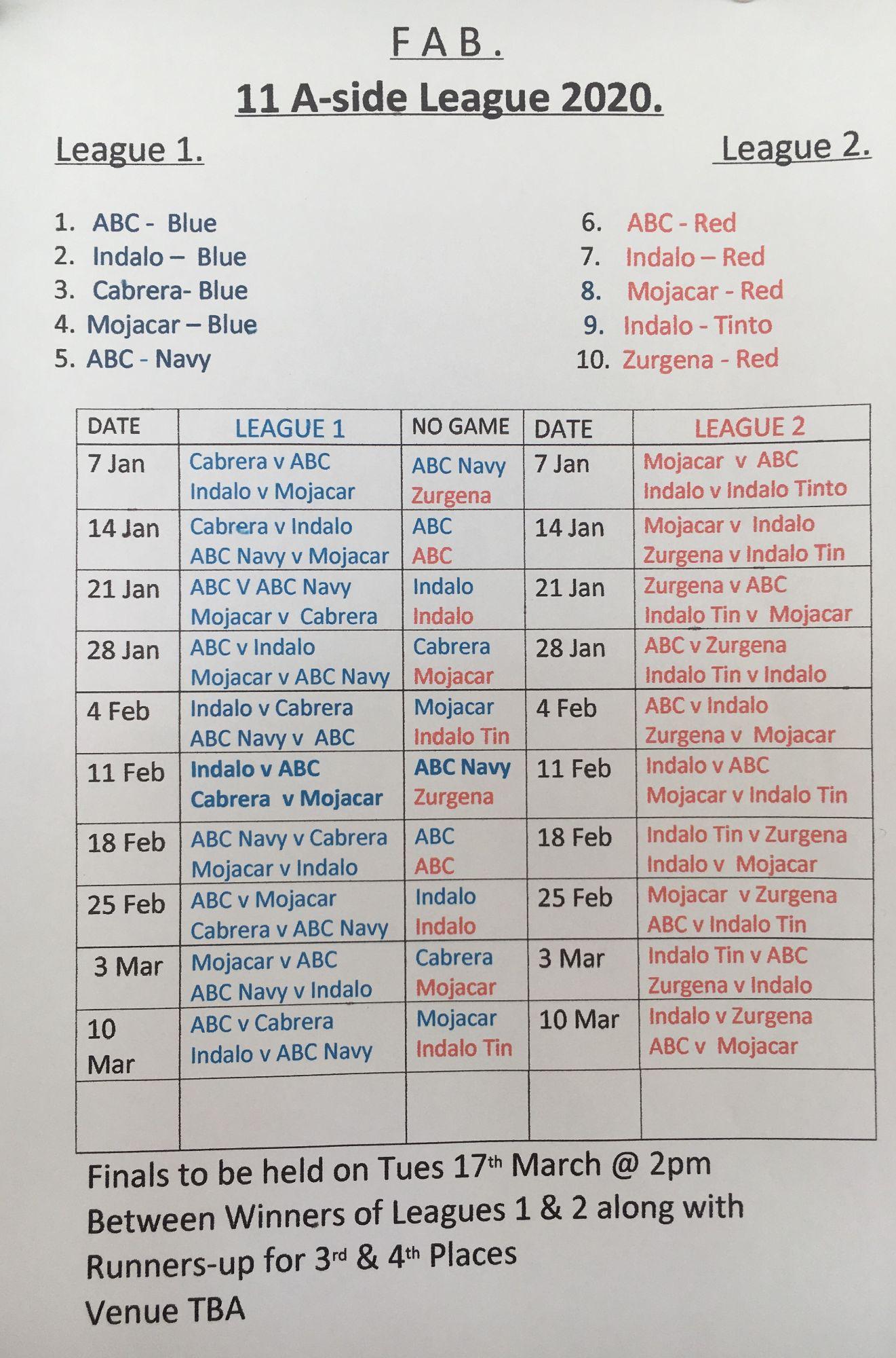 11s league fixtures 2020