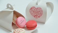 white macaron valentines box
