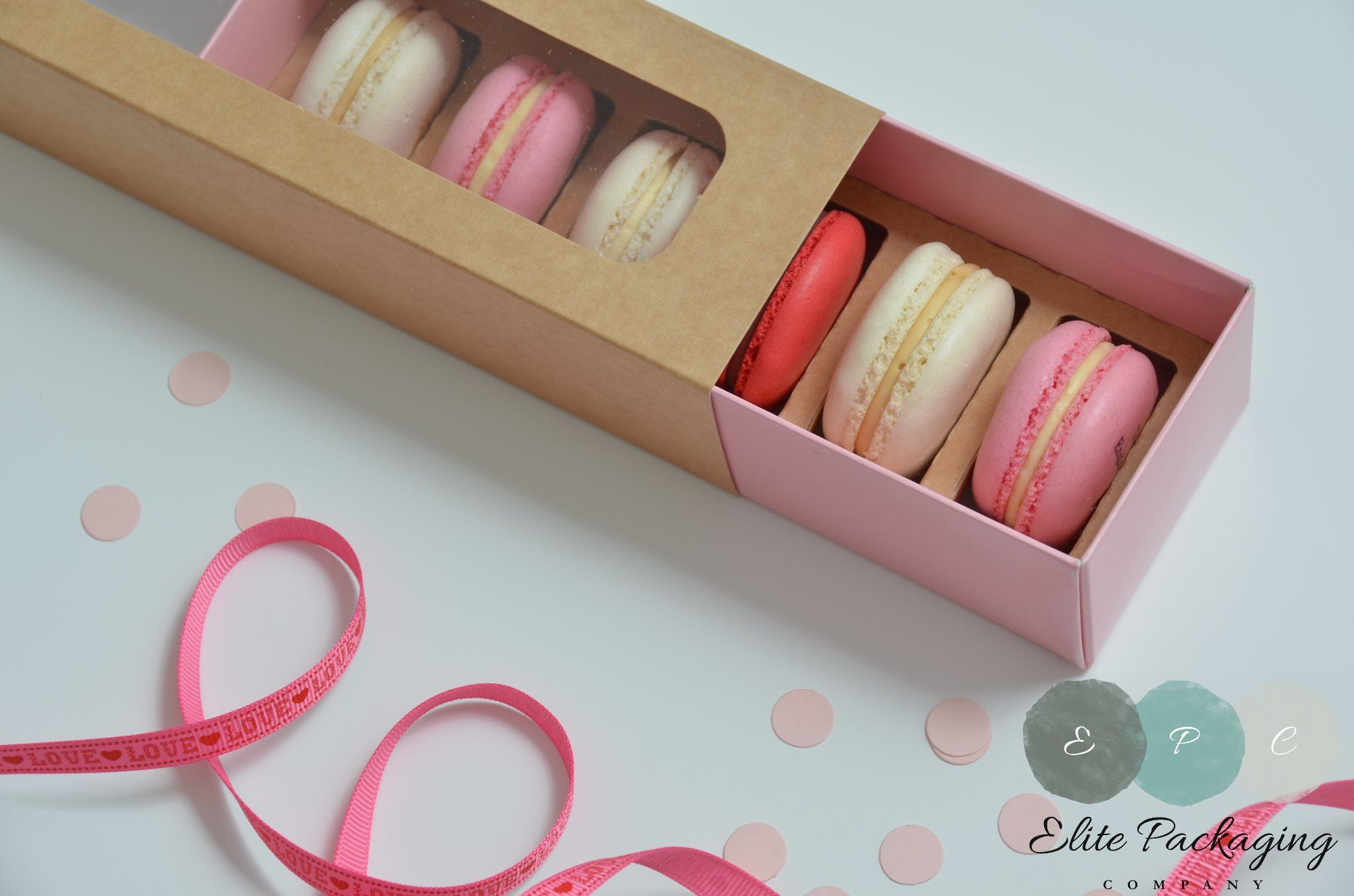 kraft and pink macaron box