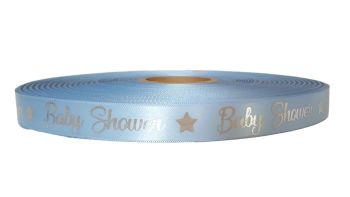 25 Mtrs -  Personalised Blue Baby Shower Ribbon 15mm