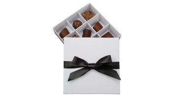 White Base and Lid 9pk Insert Chocolate Box - Pack of 10
