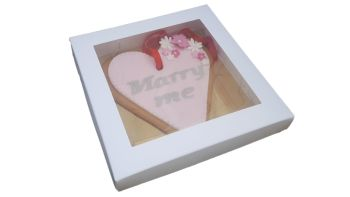NEW:White Square Cookie Box With Gold Insert-140 x 140 x 30mm-  Pack of 10