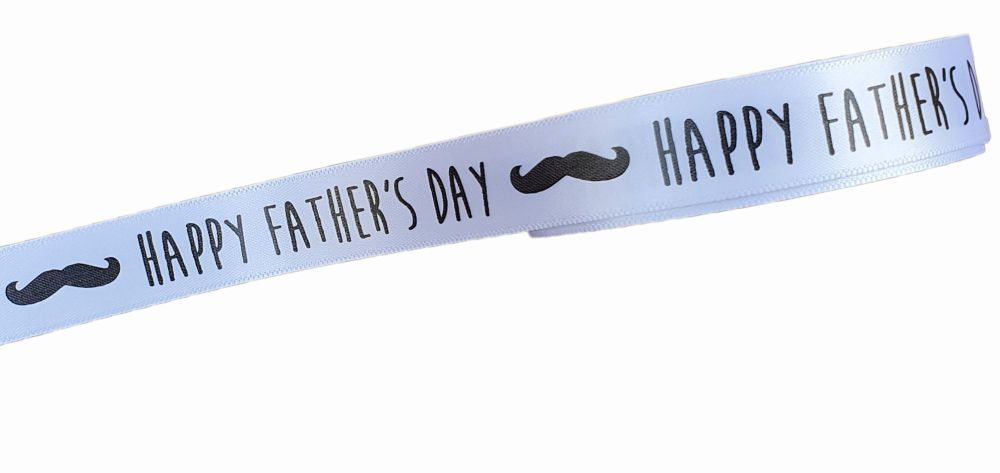 5  Mtr  White Fathers Day Ribbon 15mm