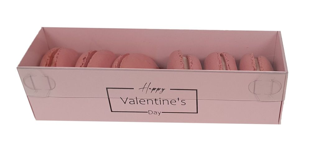Pink Valentines Print Macaron Box With Clear Lid for 6 Macarons- 185x 55 x