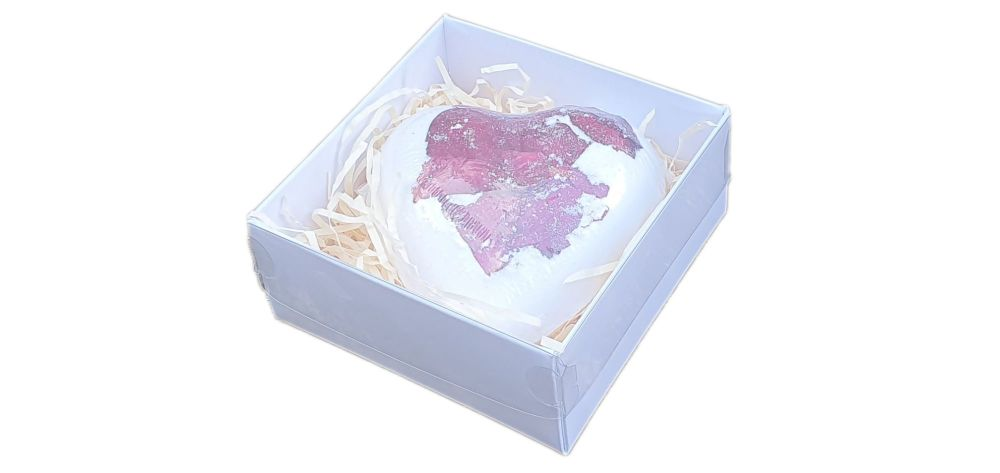 White Small Square Bath Bomb Box With Clear- Pack of 10