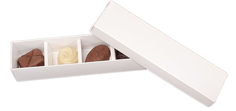 White Long 4pk Chocolate Box With Non Window Lid -160 x 35 x 30mm.- Pack of