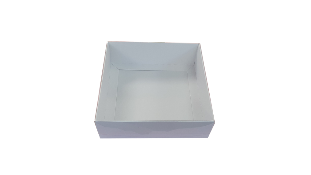 White Large Deep Square Cookie Box With Clear Lid- 155mm x 155mm x 50mm Pac