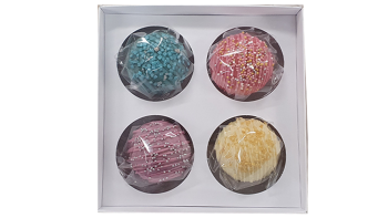 White 4pk Chocolate Bomb Box With Clear Lid And Insert for 50mm depth bombs - Pack of 10 - 155mm x 155mm x 50mm