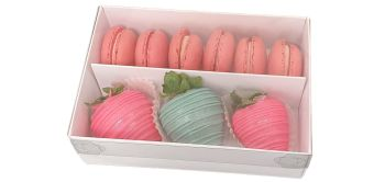 White Macaron Box With Clear Lid and Insert - Twelves - Pack of 10