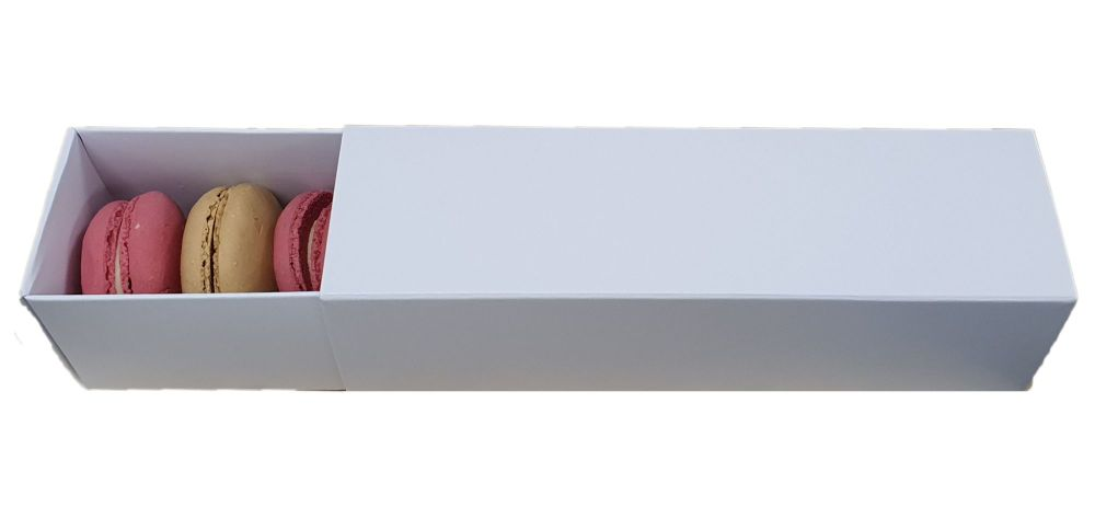 White Non Window Sleeve Macaron Box For 6 Macarons- 185x 55 x 55mm  Pack of