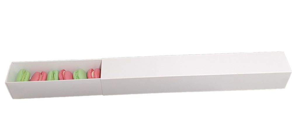 White Non Window Sleeve Macaron Box For 12 Macarons- 360 x 50 x 50mm  Pack