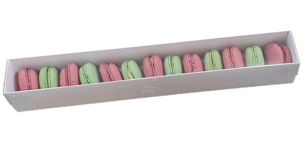 White Sleeve Macaron Box With Clear Lid For 12 Macarons- 360 x 50 x 50mm  P