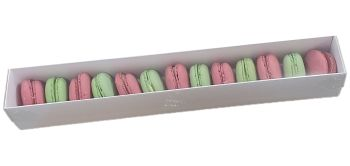 White Macaron Box With Clear Lid For 12 Macarons- 360 x 50 x 50mm  Pack of 10