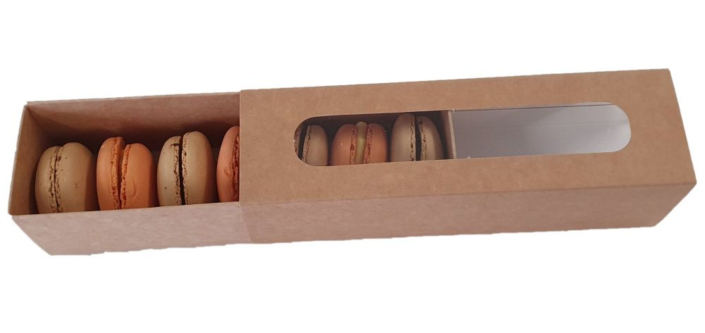 Kraft Macaron Box With Window - Sixes - Pack of 10