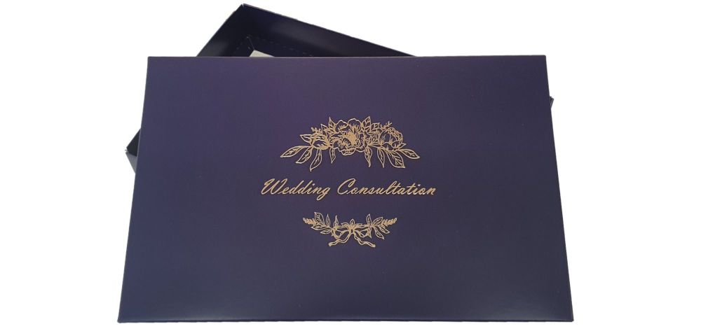 Aubergine Wedding Consultation Box With Gold Foil Design - 240mm x 155mm x