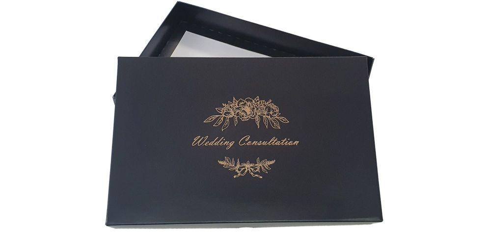 Black Wedding Consultation Box With Gold Foil Design - 240mm x 155mm x 30mm