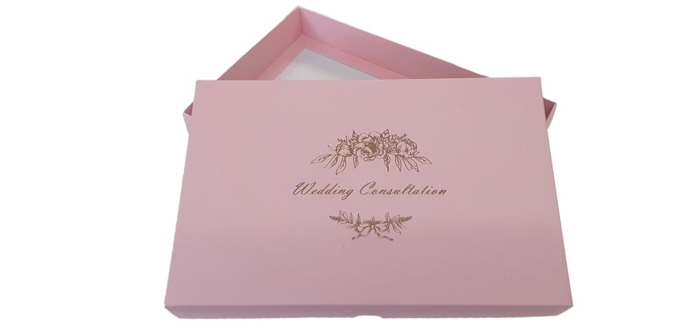 Pink  Wedding Consultation Box With Gold Foil Design - 240mm x 155mm x 30mm