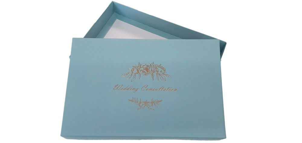 Turquoise Wedding Consultation Box With Gold Foil Design - 240mm x 155mm x