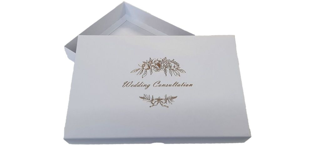 White Wedding Consultation Box With Foiled White Non Window Lid - 240mm x 155mm x 30mm - Pack of 10