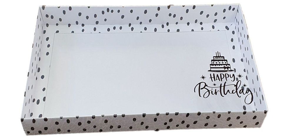 Dalmatian Print Large Biscuit/Cookie Box With Foiled Happy Birthday Clear Lid- 240mm x 155mm x 30mm Pack of 10