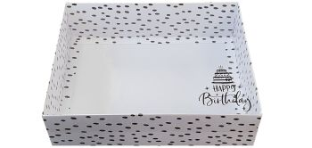 Dalmatian Hamper Box With Foiled Happy Birthday Clear Lid - 250 x 195 x 70 mm- Pack of 10
