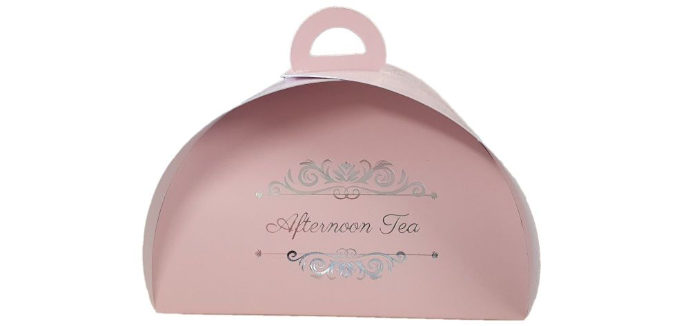 Pink Patisserie Box With Afternoon Tea Foiled Logo -150mm x 100mm x 70 mm -