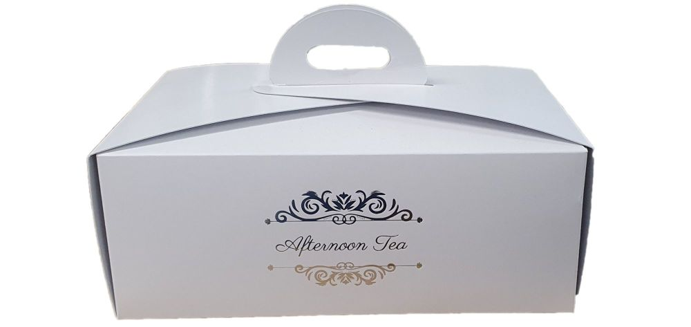 White Afternoon Tea Foiled Handle Presentation Box With Divider Insert - 22