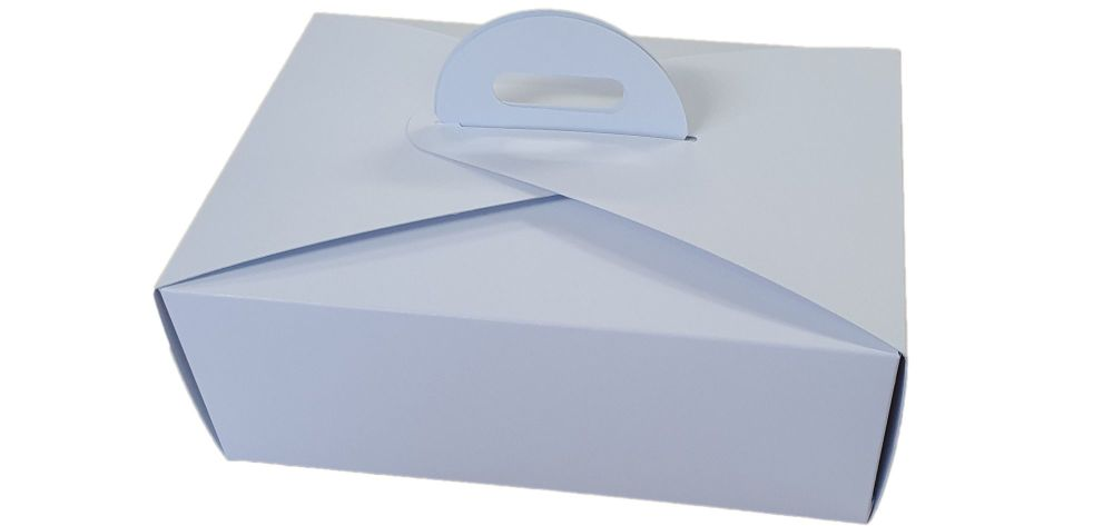 White Handle Presentation Box With Divider Insert - 222mm x 152mm x 85mm - Pack of 10