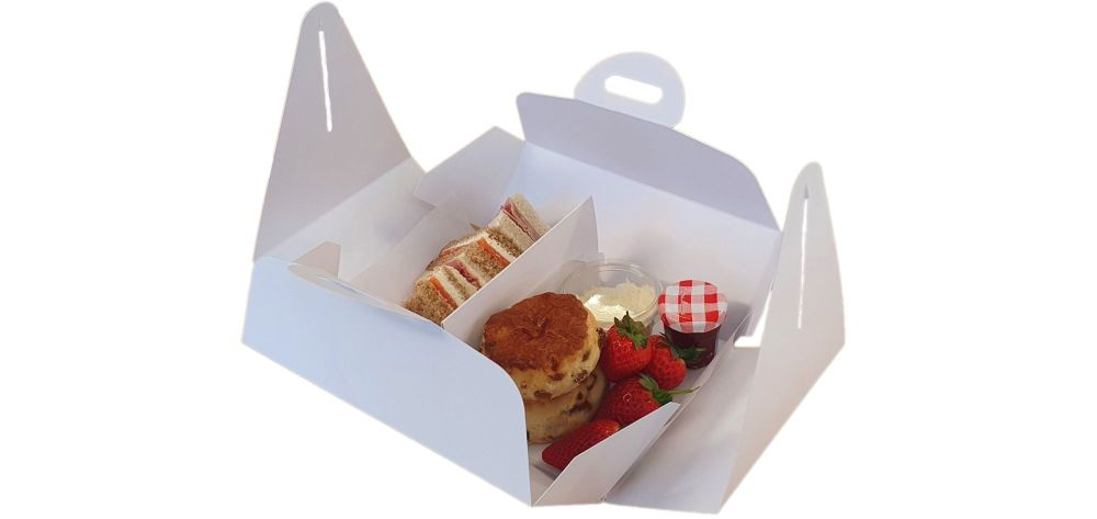 White Handle Presentation Box With Divider Insert - 222mm x 152mm x 85mm -