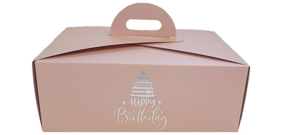 Pink Birthday Foiled Handle Presentation Box With Divider Insert - 222mm x