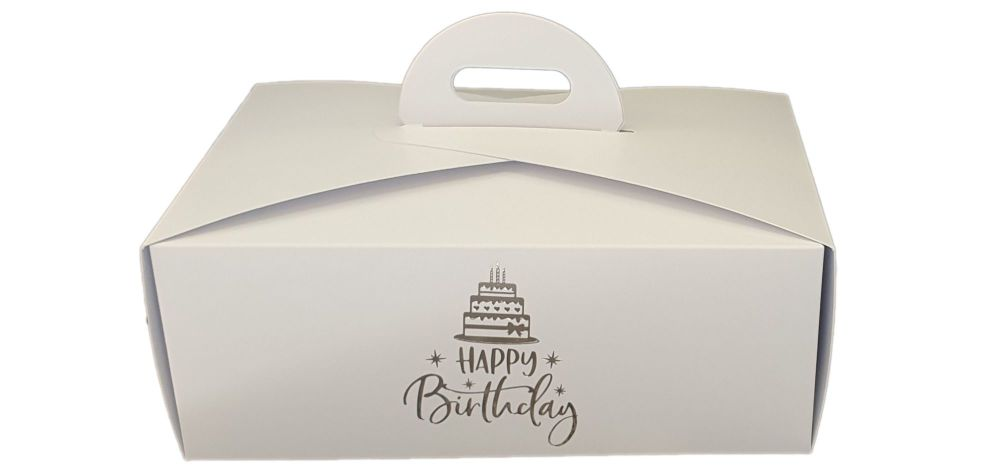 White Birthday Foiled Handle Presentation Box With Divider Insert - 222mm x
