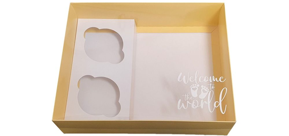 Yellow  Printed New Baby Hamper Box With Insert And Clear Lid-250 x 195 x 7