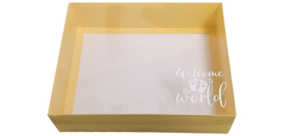 Yellow New Baby Hamper Box With White Base and Foiled Clear Lid-250 x 195 x