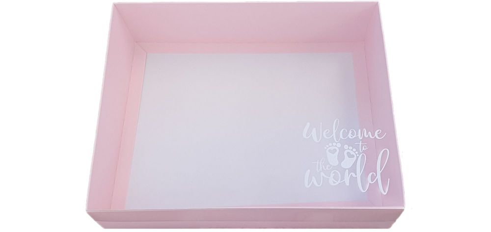 Pink 'Welcome To The World' Hamper Box With White Foiled Clear Lid - 250mm x 195mm x 70mm - Pack of 10