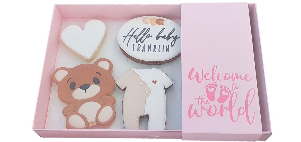 Pink New Baby Large Biscuit/Cookie Box With Clear Lid & Foiled Belly Band -