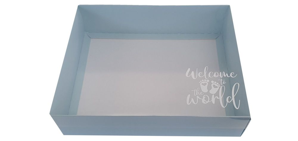 Blue New Baby Hamper Box With White Base and Foiled Clear Lid-250 x 195 x 7