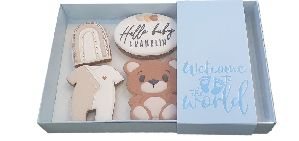 Blue New Baby Large Biscuit/Cookie Box With Clear Lid & Foiled Belly Band -