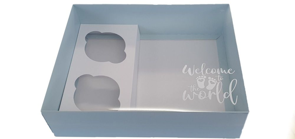 Blue Printed New Baby Hamper Box With Insert And Clear Lid-250 x 195 x 70mm