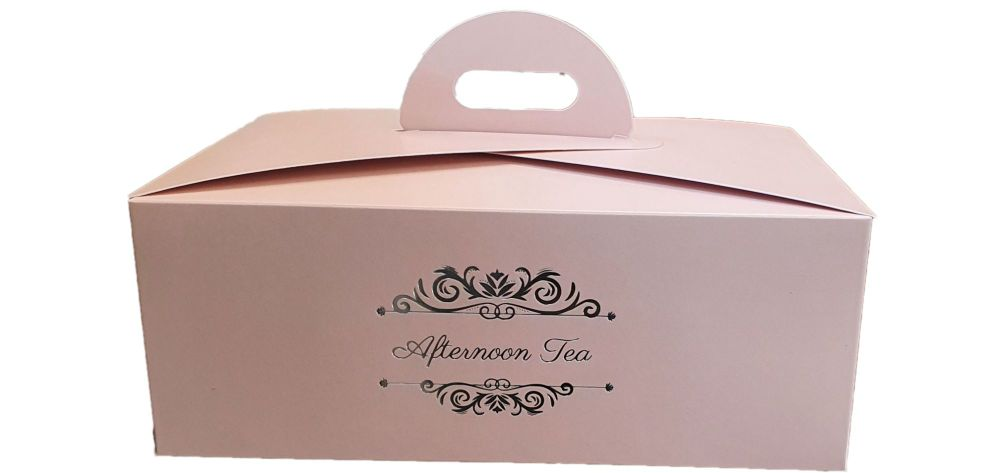 Pink Afternoon Tea Foiled Handle Presentation Box With Divider Insert - 222
