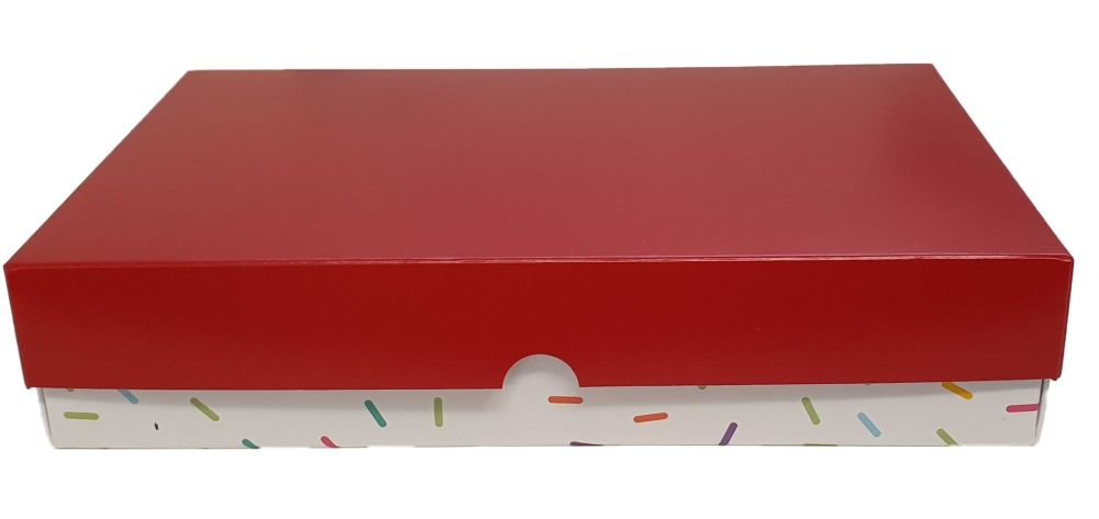 Sprinkle Print Deep Large Biscuit/Cookie Box with Red Non Window Lid -240mm x 155mm x 50mm - Pack of 10