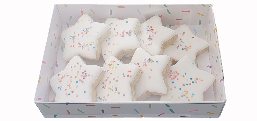 Sprinkle Print 35mm Deep C6 Cookie Box With Clear Lid - 165mm x 115mm x 35mm - Pack of 10