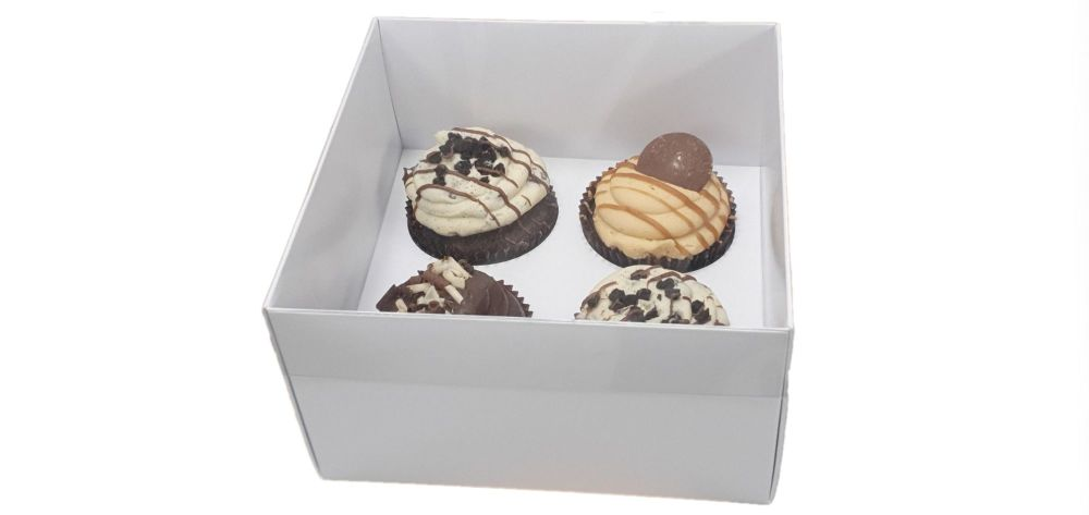White Luxury 4pk Cupcake Box With Clear Lid & Insert -  155mm x 155mm x 90m