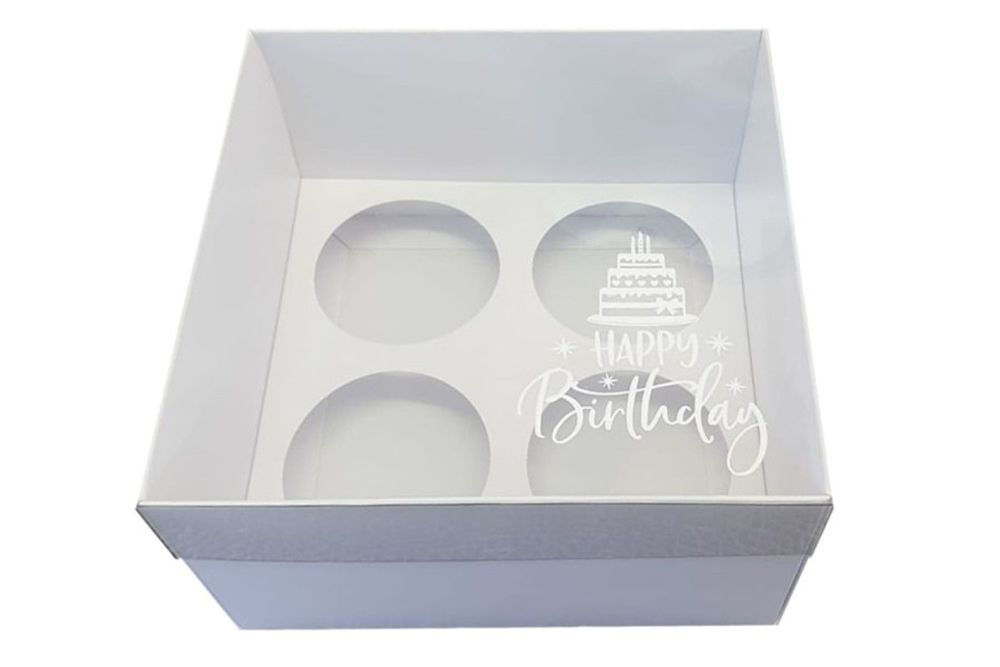 White Luxury Happy Birthday 4pk Cupcake Box With Clear Lid & Insert -  155mm x 155mm x 90mm - Pack of 10