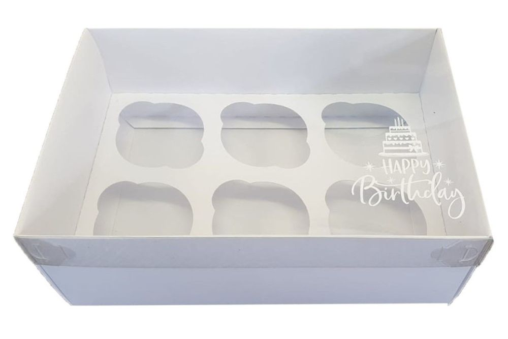 White Luxury Happy Birthday 6pk Cupcake Box With Clear Lid & Insert - 240mm