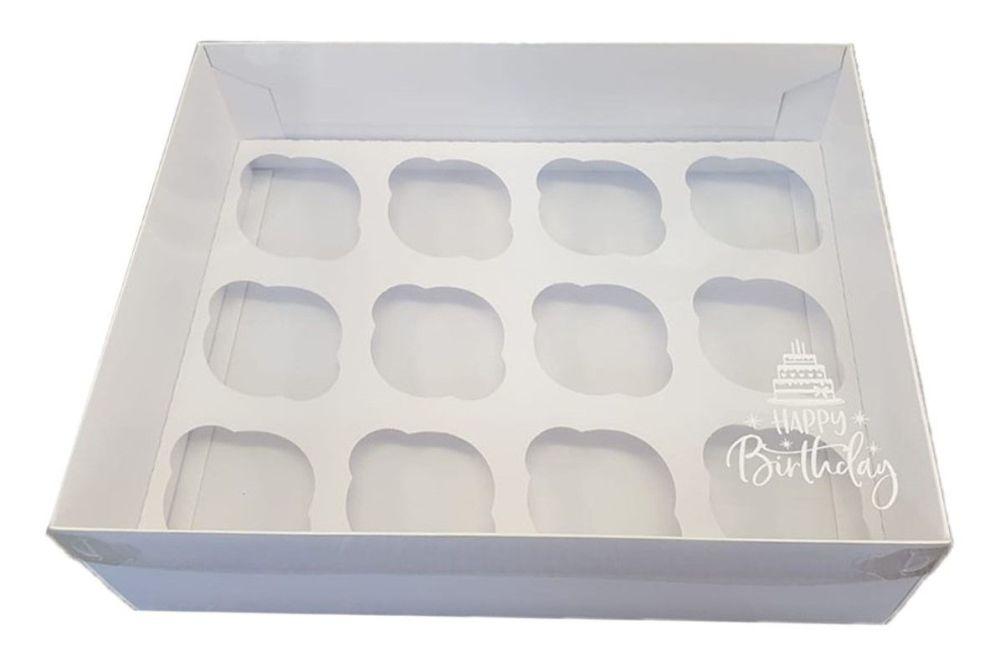White Luxury Happy Birthday 12pk Cupcake Box With Clear Lid & Insert - 315m