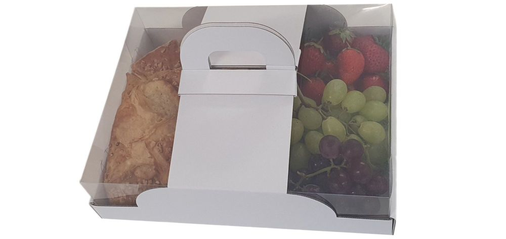 White  Carrier Hamper Tray With Clear Lid - 260mm x 200mm x 70mm - Pack of 25